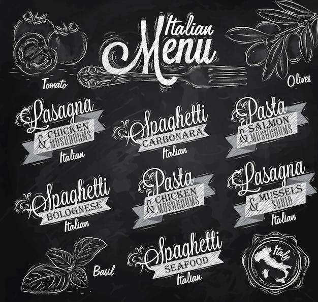 Menú tiza italiana