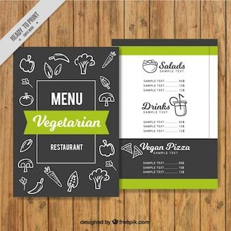 Menu vegetariano con dibujos en estilo pizarra