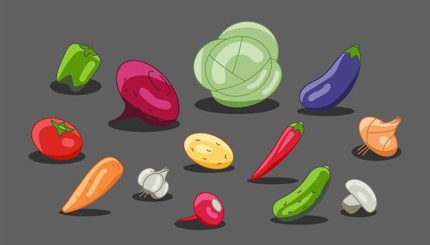 Menú vegetariano de verduras rábano, berenjena, remolacha. vector repollo vegetal, zanahorias, pepino, ajo, cebolla, pimiento.