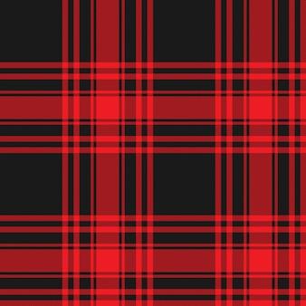 Menzies tartán falda falda de falda roja y negra textura de tela sin patrón