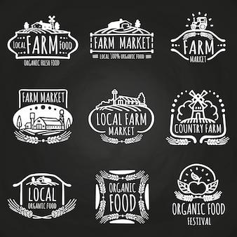 Mercado agrícola y festival de comida dibujado a mano.