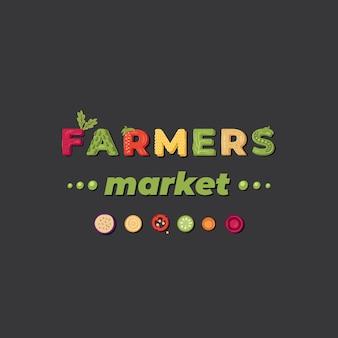 Mercado de agricultores - logotipo de letras. .