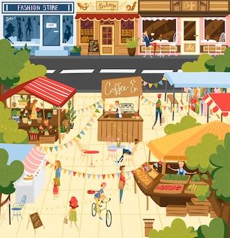 Mercado de agricultores, personas en mostradores de feria vendedores de pie detrás de puesto con productos frescos de alimentos caseros de granja ilustración exterior.