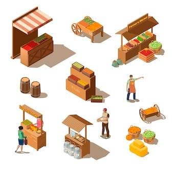 Mercado de agricultores con productos comestibles en estilo isométrico.