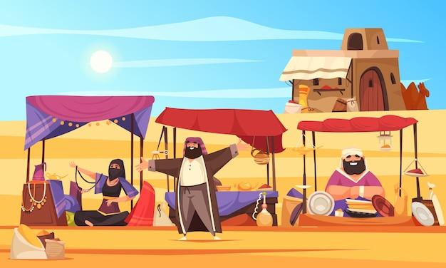 Mercado árabe con toldos comerciales y vendedores orientales en sandy desert cartoon