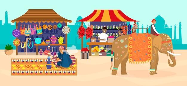 Mercado asiático con diferentes tiendas y gente.