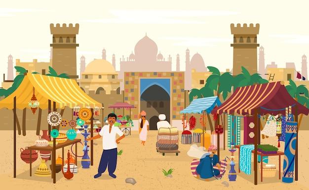 Mercado asiático con gente y diferentes tiendas con paisaje antiguo al fondo