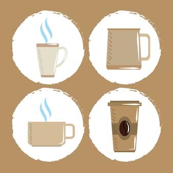 Mercado de café, vasos desechables y de porcelana para iconos de bebidas calientes ilustración vectorial