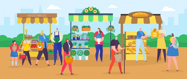 Mercado de la calle, gente de dibujos animados de compras con bolsa de compras, comprar comida o flores, fondo justo