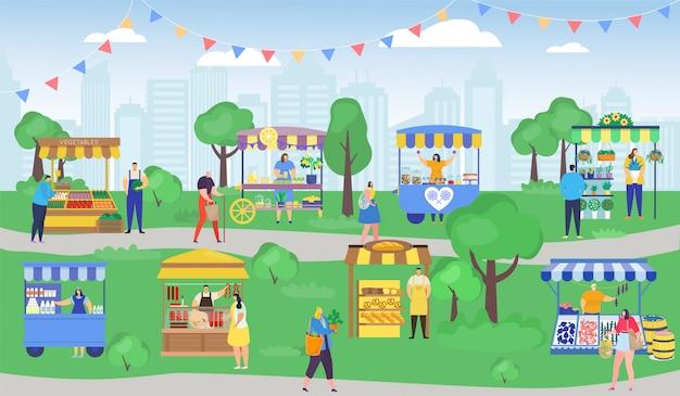 Mercado de la calle, gente de dibujos animados de compras, personajes de mujer hombre con bolsa de compras, mercado de la feria de verano de la ciudad