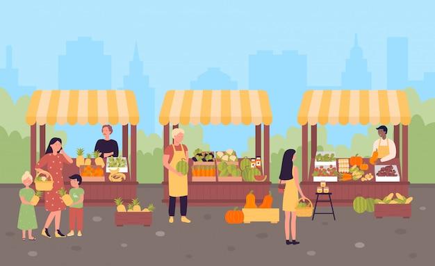 Mercado callejero de agricultores en el concepto de ilustración plana de la ciudad, fondo de la ciudad