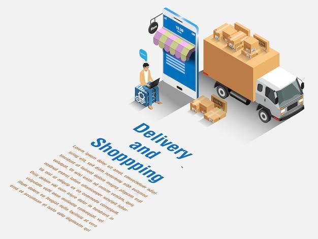 Mercado de comercio electrónico, compras y entregas en línea. concepto isométrico