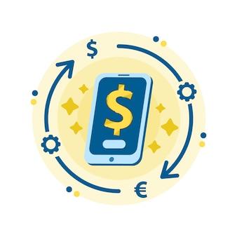 Mercado de criptomonedas para intercambio. servicio de cambio de moneda móvil