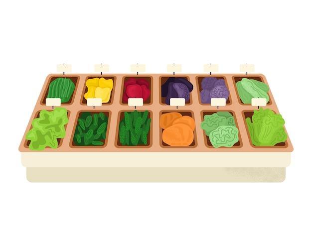 Mercado estante de madera productos alimenticios vegetales orgánicos