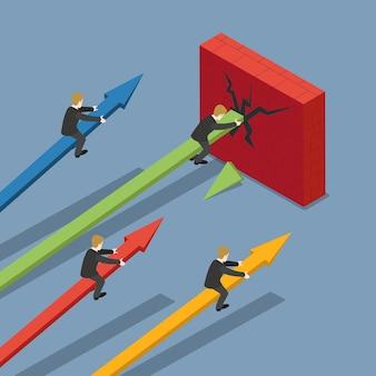 Mercado financiero de la bolsa de valores isométrica plana de muro de hormigón