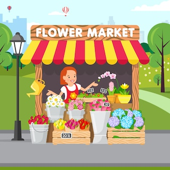 Mercado de flores, floristería, ilustración vectorial