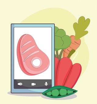 Mercado fresco smartphone carne zanahoria guisantes alimentos orgánicos saludables con verduras ilustración