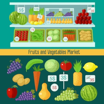Mercado de frutas y verduras. concepto de alimentación saludable