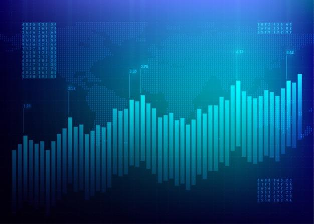 Mercado gráfico de acciones. tabla de finanzas. negocio de crecimiento azul. banco online de datos de bonos.