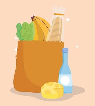 Mercado en línea, bolsa, botella de queso, pan, plátano y lechuga, entrega de alimentos en la tienda de comestibles