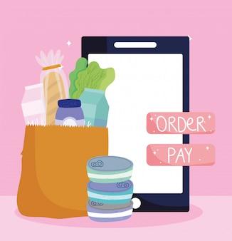Mercado en línea, bolsa de papel para teléfono inteligente que ordena el botón de pago, entrega de alimentos en la tienda de comestibles