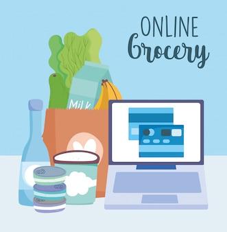 Mercado en línea, computadora que ordena los ingredientes de la tarjeta de crédito bancaria, entrega de alimentos en la tienda de comestibles ilustración