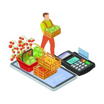 Mercado en línea de frutas y verduras frescas con concepto isométrico de entrega gratuita