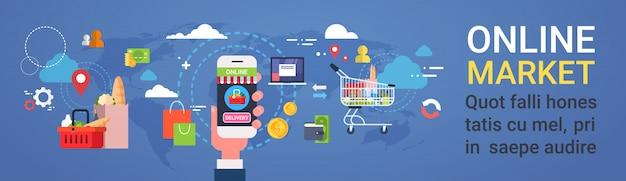 Mercado en línea mano sostener productos de pedidos de teléfonos inteligentes compras en el supermercado y entrega de alimentos concepto banner horizontal