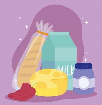 Mercado en línea, pan, queso, pimienta, leche, entrega de alimentos en la tienda de comestibles