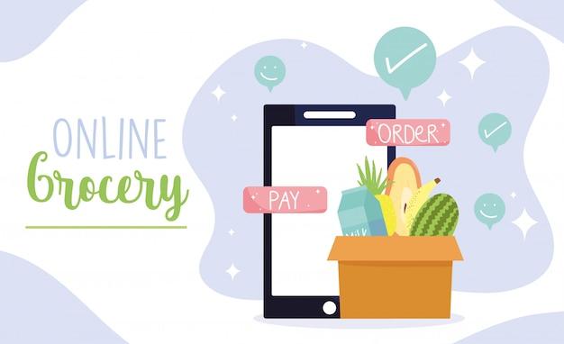 Mercado en línea, tecnología de botones de pago y pedido de teléfonos inteligentes, entrega de alimentos en la tienda de comestibles