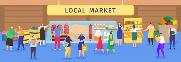 Mercado local de alimentos agrícolas, compras de personas de dibujos animados, personajes de mujer hombre comprando a los agricultores carne, pan o verduras