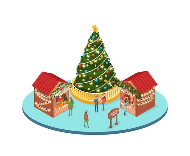 Mercado navideño, gente que compra recuerdos