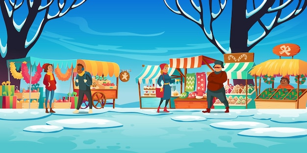Mercado navideño con puestos, vendedores y clientes, feria callejera de invierno con casetas, dulces tradicionales y regalos, venta de decoración de abeto