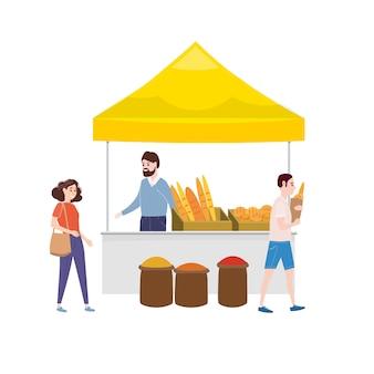 Mercado de panadería de comida callejera.