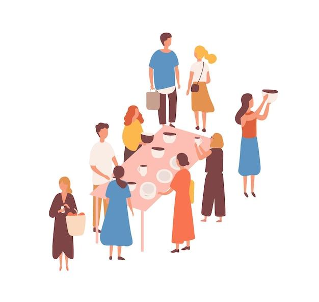 Mercado de pulgas, ilustración de vector plano feria de cerámica. vendedores de cerámica y clientes personajes sin rostro. compra de loza, vajilla, delftware. utensilios nuevos y usados. bazar, mercado de vajillas.