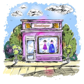 Mercado ropa boutique boutique composición al aire libre