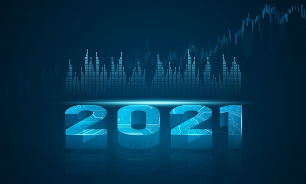 Mercado de valores 2021, gráfico económico con diagramas, conceptos e informes comerciales y financieros, fondo de concepto de comunicación de tecnología abstracta