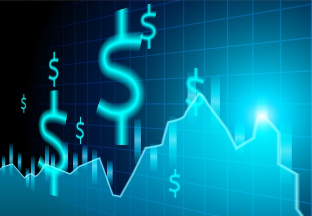 Mercado de valores de las finanzas. muestras solares en fondo azul.