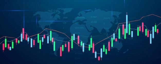 Mercado de valores, gráfico económico con diagramas, conceptos e informes comerciales y financieros, antecedentes del concepto de comunicación de tecnología abstracta