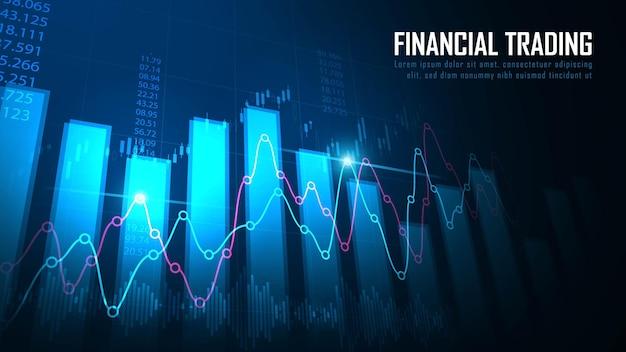 Mercado de valores o gráfico de comercio de divisas en concepto gráfico adecuado para inversiones financieras o tendencias económicas