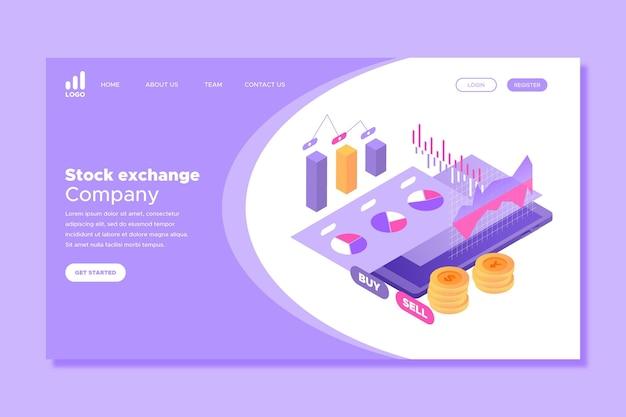 Mercado de valores con página de inicio de dinero