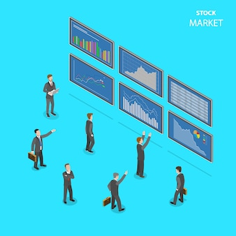 Mercado de valores plano isométrico.