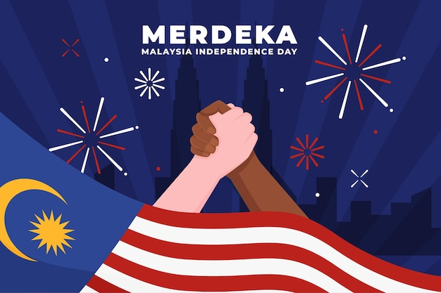 Merdeka malasia día de la independencia con manos sosteniendo