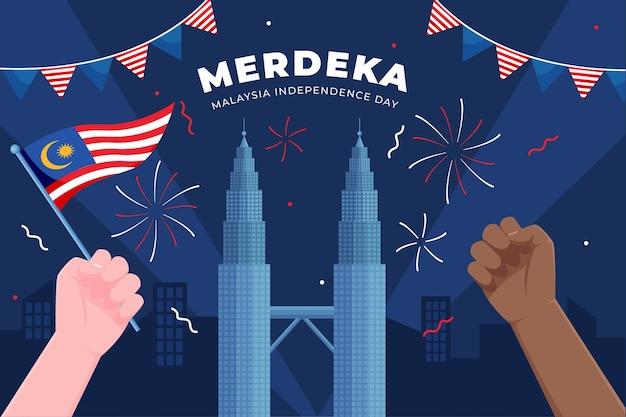 Merdeka malasia día de la independencia con las manos