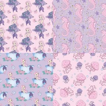 Mermaid pattern set patrón sin costuras de viaje por mar