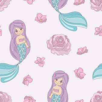 Mermaid rose ilustración de vector decorativo de patrones sin fisuras