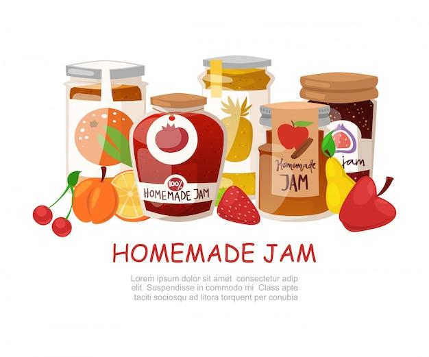 Mermelada casera con frutas frescas y mermelada de bayas con frascos rústicos de gelatina con tapa de papel, dibujos animados de mermelada