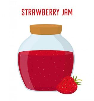 Mermelada de fresa en la ilustración de tarro de botella de vidrio