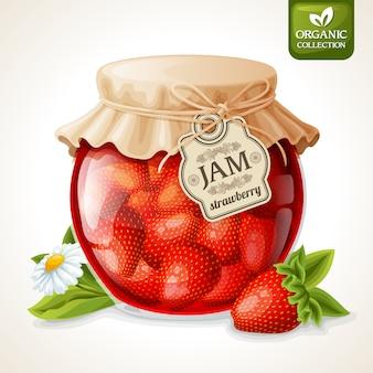 Mermelada de fresa en vaso