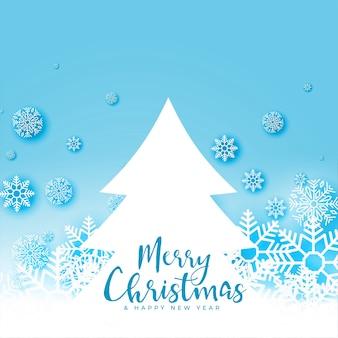Merry chirsmtas invierno copos de nieve y diseño de saludo de árbol
